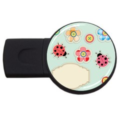 Buttons & Ladybugs Cute USB Flash Drive Round (1 GB)