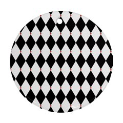 Plaid Triangle Line Wave Chevron Black White Red Beauty Argyle Round Ornament (Two Sides)