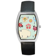 Buttons & Ladybugs Cute Barrel Style Metal Watch