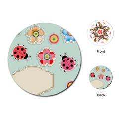 Buttons & Ladybugs Cute Playing Cards (Round)