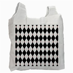 Plaid Triangle Line Wave Chevron Black White Red Beauty Argyle Recycle Bag (One Side)
