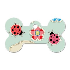 Buttons & Ladybugs Cute Dog Tag Bone (One Side)