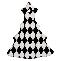 Plaid Triangle Line Wave Chevron Black White Red Beauty Argyle Christmas Tree Ornament (Two Sides)