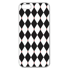 Plaid Triangle Line Wave Chevron Black White Red Beauty Argyle Apple Seamless iPhone 5 Case (Clear)