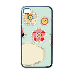 Buttons & Ladybugs Cute Apple iPhone 4 Case (Black)