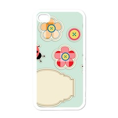 Buttons & Ladybugs Cute Apple iPhone 4 Case (White)