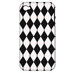 Plaid Triangle Line Wave Chevron Black White Red Beauty Argyle Apple iPhone 4/4S Hardshell Case (PC+Silicone)