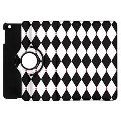Plaid Triangle Line Wave Chevron Black White Red Beauty Argyle Apple iPad Mini Flip 360 Case