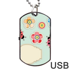Buttons & Ladybugs Cute Dog Tag USB Flash (One Side)