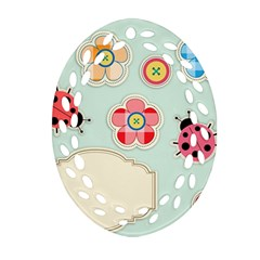 Buttons & Ladybugs Cute Ornament (Oval Filigree)