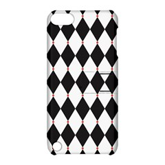 Plaid Triangle Line Wave Chevron Black White Red Beauty Argyle Apple iPod Touch 5 Hardshell Case with Stand