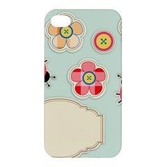 Buttons & Ladybugs Cute Apple iPhone 4/4S Premium Hardshell Case
