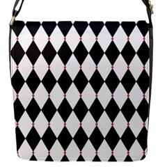 Plaid Triangle Line Wave Chevron Black White Red Beauty Argyle Flap Messenger Bag (S)