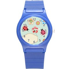 Buttons & Ladybugs Cute Round Plastic Sport Watch (S)