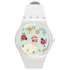 Buttons & Ladybugs Cute Round Plastic Sport Watch (M)