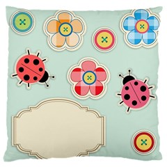 Buttons & Ladybugs Cute Large Cushion Case (Two Sides)