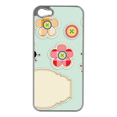 Buttons & Ladybugs Cute Apple iPhone 5 Case (Silver)