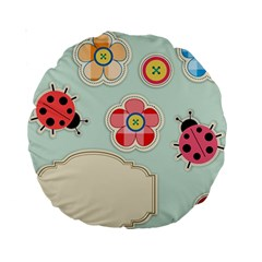 Buttons & Ladybugs Cute Standard 15  Premium Round Cushions