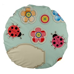 Buttons & Ladybugs Cute Large 18  Premium Round Cushions