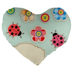 Buttons & Ladybugs Cute Large 19  Premium Heart Shape Cushions