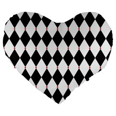 Plaid Triangle Line Wave Chevron Black White Red Beauty Argyle Large 19  Premium Flano Heart Shape Cushions