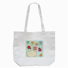 Buttons & Ladybugs Cute Tote Bag (White)