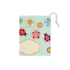 Buttons & Ladybugs Cute Drawstring Pouches (Small)