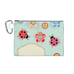 Buttons & Ladybugs Cute Canvas Cosmetic Bag (M)