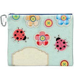 Buttons & Ladybugs Cute Canvas Cosmetic Bag (xxxl)