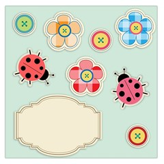 Buttons & Ladybugs Cute Large Satin Scarf (square)