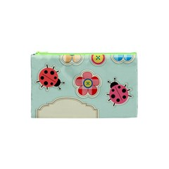 Buttons & Ladybugs Cute Cosmetic Bag (XS)
