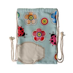Buttons & Ladybugs Cute Drawstring Bag (small)
