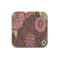 Ice Cream Flower Floral Rose Sunflower Leaf Star Brown Rubber Square Coaster (4 Pack)
