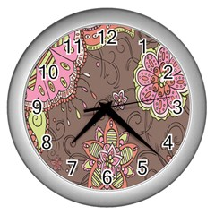 Ice Cream Flower Floral Rose Sunflower Leaf Star Brown Wall Clocks (Silver)