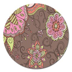 Ice Cream Flower Floral Rose Sunflower Leaf Star Brown Magnet 5  (Round)