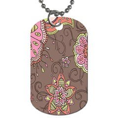 Ice Cream Flower Floral Rose Sunflower Leaf Star Brown Dog Tag (two Sides)