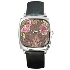 Ice Cream Flower Floral Rose Sunflower Leaf Star Brown Square Metal Watch