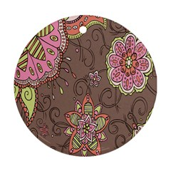 Ice Cream Flower Floral Rose Sunflower Leaf Star Brown Round Ornament (two Sides)