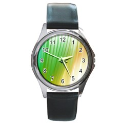 Folded Paint Texture Background Round Metal Watch