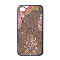 Ice Cream Flower Floral Rose Sunflower Leaf Star Brown Apple iPhone 4 Case (Black)