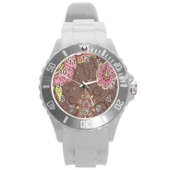 Ice Cream Flower Floral Rose Sunflower Leaf Star Brown Round Plastic Sport Watch (l)