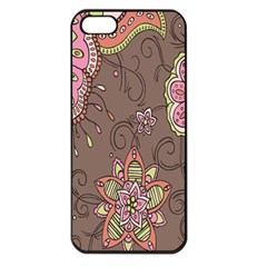 Ice Cream Flower Floral Rose Sunflower Leaf Star Brown Apple iPhone 5 Seamless Case (Black)