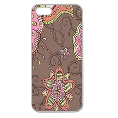 Ice Cream Flower Floral Rose Sunflower Leaf Star Brown Apple Seamless iPhone 5 Case (Clear)