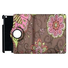 Ice Cream Flower Floral Rose Sunflower Leaf Star Brown Apple Ipad 3/4 Flip 360 Case
