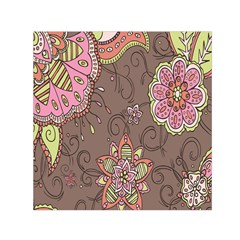 Ice Cream Flower Floral Rose Sunflower Leaf Star Brown Small Satin Scarf (Square)
