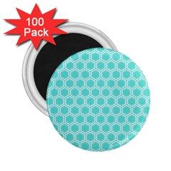 Plaid Circle Blue Wave 2 25  Magnets (100 Pack)