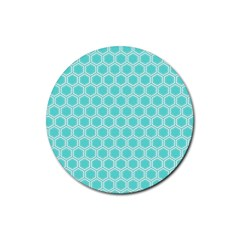 Plaid Circle Blue Wave Rubber Coaster (round)