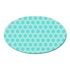 Plaid Circle Blue Wave Oval Magnet