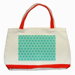 Plaid Circle Blue Wave Classic Tote Bag (red)