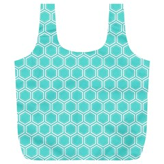 Plaid Circle Blue Wave Full Print Recycle Bags (L)
